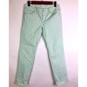 Loft Modern Straight Mint Green Jeans 14